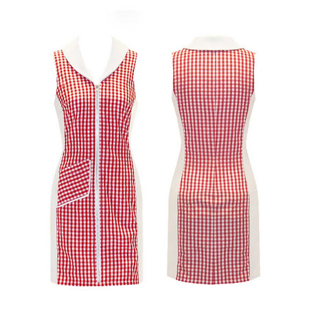 Women's Red Checkered Sleeveless Golf Dress