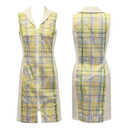 Women's Yellow Blue Check Sleeveless Dress