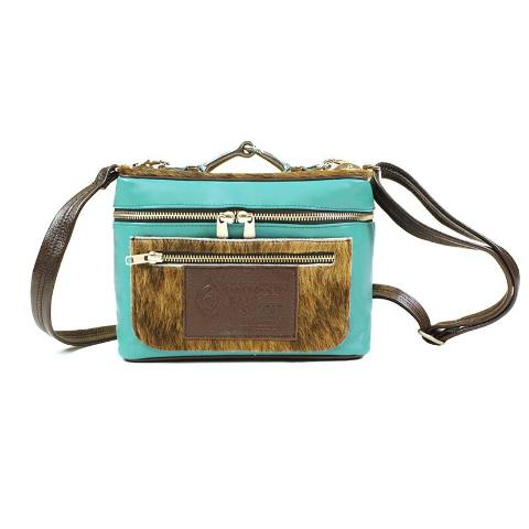 Cheeky Bag - Turquoise and Brown