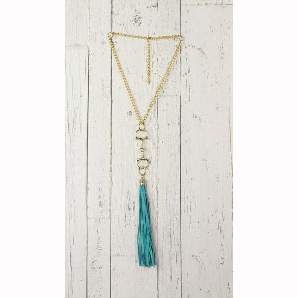 Diamond Back Turquoise Fringe Gold Necklace