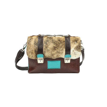 Accent Briefcase - Turquoise and Brown