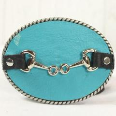 Turquoise belt buckle- small sliver horse bit