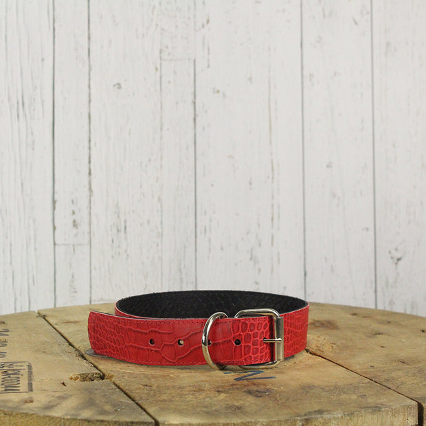 Reversible Leather Dog Collar Red Croc or Black Gator