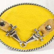 Yellow belt buckle- small sliver horse bit