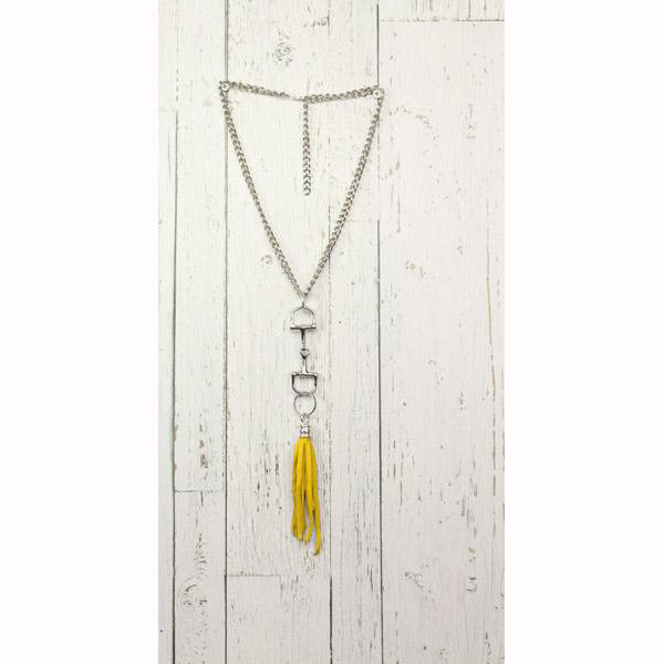 Diamond Back Yellow Fringe Silver Necklace