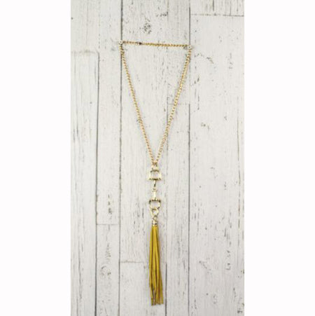 Diamond Back Yellow Fringe Gold Necklace