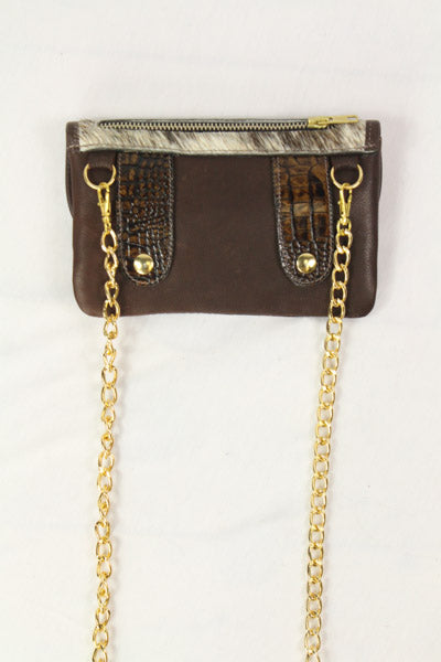 Belt-Crossbody- Phone Pouch -Turquoise Brown Flap -Gold