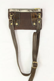 Belt-Crossbody- Phone Pouch - Brown Croc Embossed Brown Flap- Gold