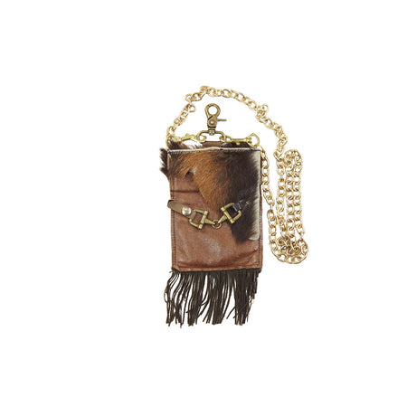 Flap Clutch - Brown with Fringe
