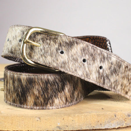 Reversible Belts, Brown Cow Hide to Brown Alligator Leather