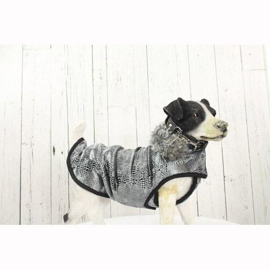Sliver Snake Print Fleece Dog Coat
