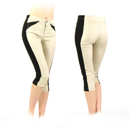 Women's Tan and Black Golf Capris