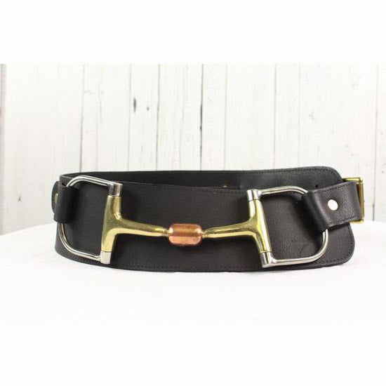 "3"" Wide Leather Belt - Black with brass"