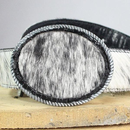 Oval Belt Buckle-Reversible Belts, Black/White Cow Hide to Black Leather with beads