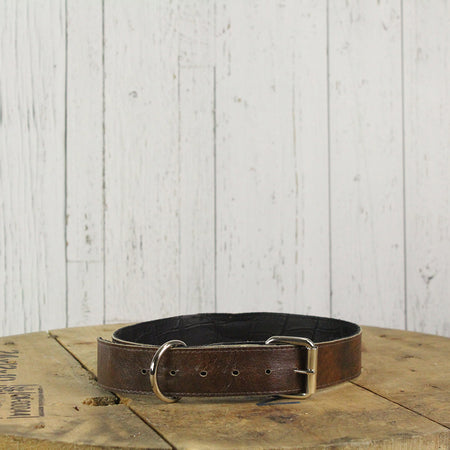 Reversible Leather Dog Collar Brown Croc or Brown white hair on
