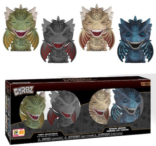 SDCC Exclusive - Game of Thrones 4-Pack: Rhaegal, Drogon, Viserion, Icy Viserion Funko Dorbz Figure