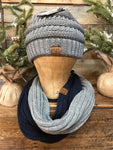 Navy/Light Gray CC Infinity Scarf