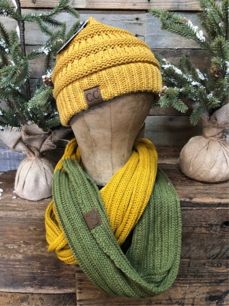 Olive/Mustard CC Infinity Scarf