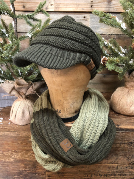 Olive/New Sage CC Infinity Scarf