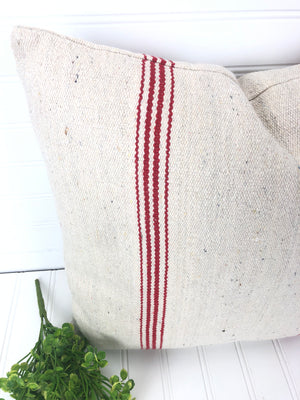 Red Grain Sack Stripe Pillow