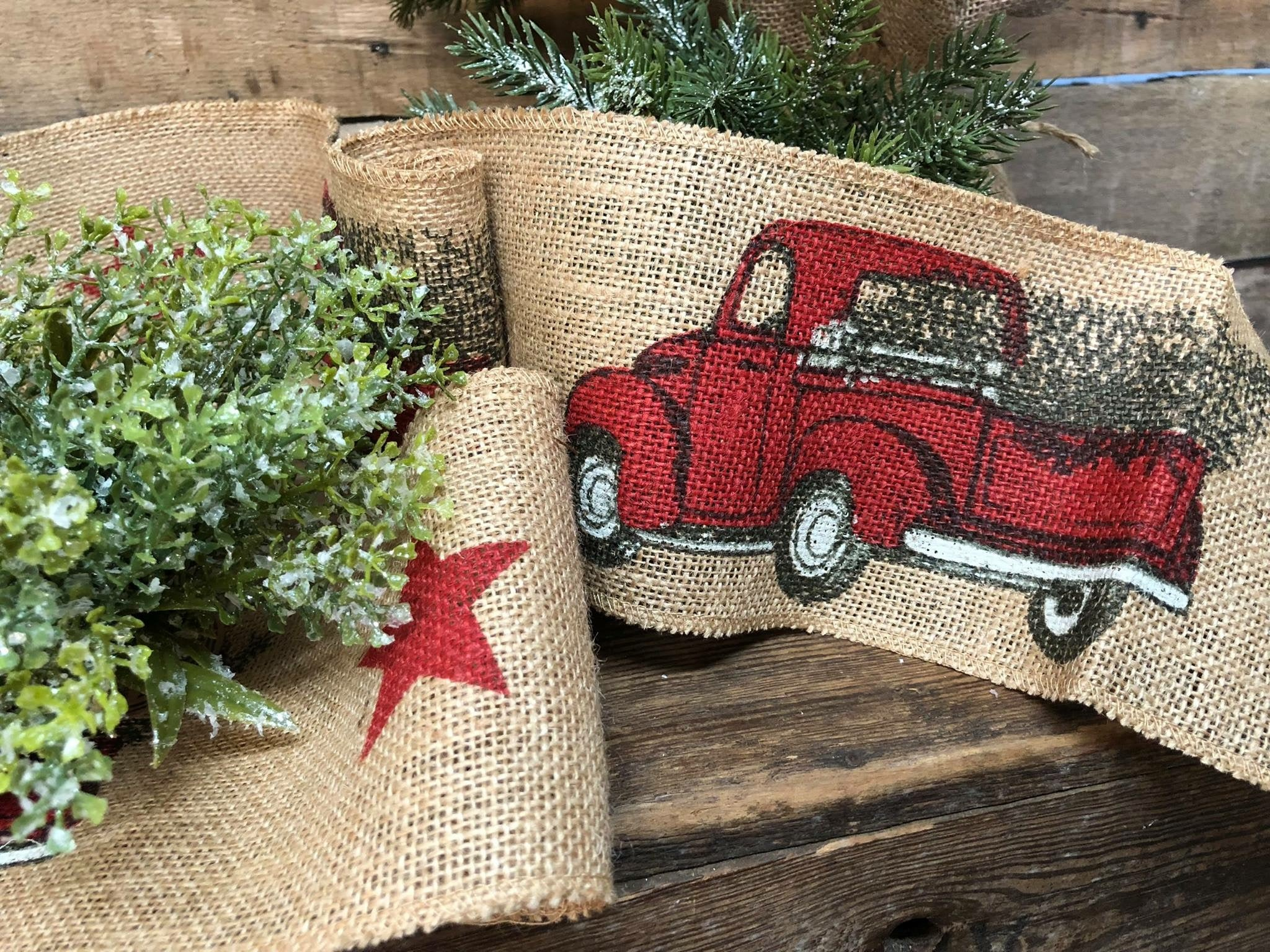 Red Truck Christmas Ribbon (Small)