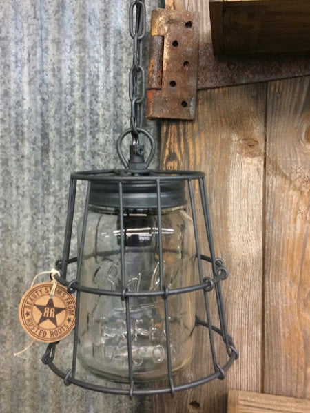 Caged Mason Jar Pendant Light