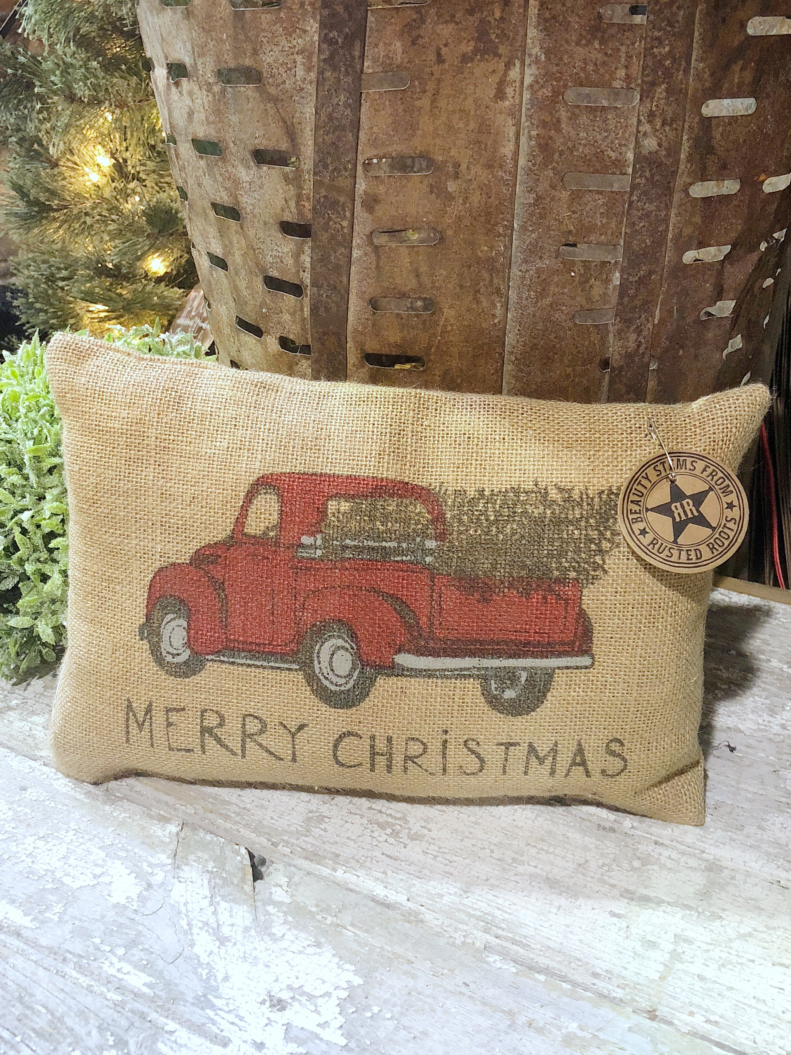 Burlap Christmas Truck Pillow