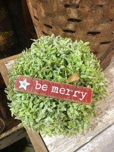 "Red Wooden ""Be Merry"" Ornament"