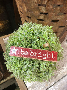 "Red Wooden ""Be Bright"" Ornament"