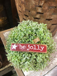 "Red Wooden ""Be Jolly"" Ornament"