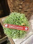 "Red Wooden ""Believe"" Ornament"