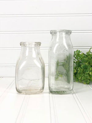 Small Chunky Antique Milk Bottles