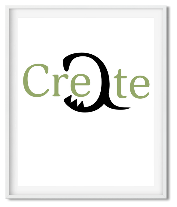 CREATE ON MOSS | TYPOGRAPHY | POSTER | WHITE - Kat Charles & Josephine