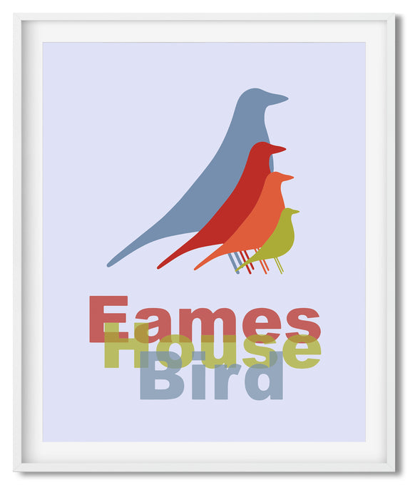 EAMES HOUSE BIRD | MIDCENTURY MODERN | POSTER | SLATE BLUE, RED, GREEN & ORANGE - Kat Charles & Josephine