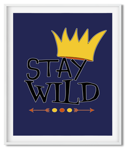 STAY WILD | ILLUSTRATION | POSTER | NAVY & YELLOW & ORANGE - Kat Charles & Josephine