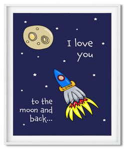 TO THE MOON & BACK | ILLUSTRATION | POSTER | NAVY - Kat Charles & Josephine