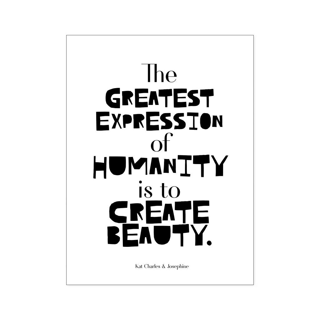 Create beauty typography poster black on white kat charles josephine