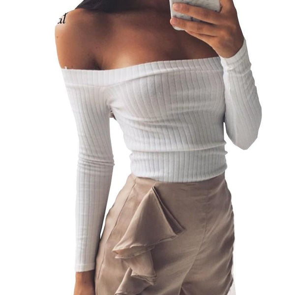 Shoulder crop top shirts long sleeve