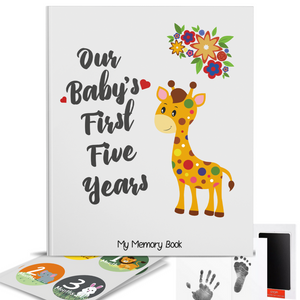 First 5 Years Baby Memory Book with 48 Pack Monthly Milestones Stickers & Clean-Touch Baby Safe Ink Pad Make Baby's Hand & Footprint - Laura Baby and Company
