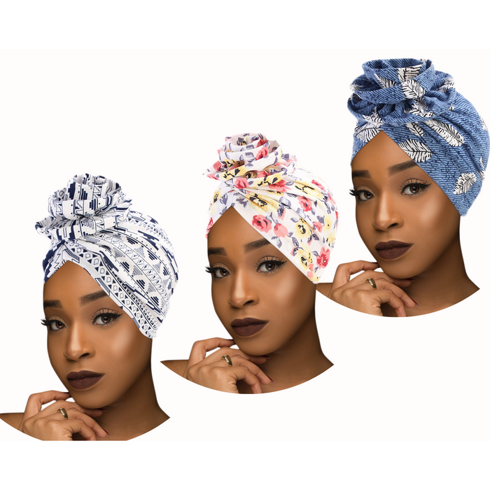"SALE - Mix of 2 Pcs of KENTE Extra Long 72""×22"" Headwraps ANKARA Dashiki African Print Head Wraps/Scarfs for Women Multicolor Headwrap Tie Hat- Ethnic Tribal - Laura Baby and Company"
