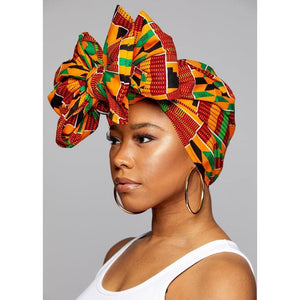 "KENTE Cloth Extra Long 72""×22"" Headwrap ANKARA Dashiki African Print Wrap/Scarf for Women - Green, Black & Orange  Head wrap Tie Hat - Ethnic Tribal"