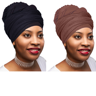 2 Pcs Black and Chocolate Brown Solid Color Head Wrap Stretch Long Hair Scarf Turban Tie Kente African Hat Jersey Knit Headwrap - Laura Baby and Company