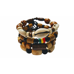 🎁 ONE DAY SALE Safari Lionel 4 Pcs Bracelets for Men Women Wooden Beaded Bracelets Multi Layer Stackable Ethnic Tribal African Bracelets - Laura Baby and Company
