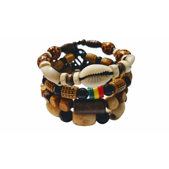 SALE Safari Lionel 4 Pcs Bracelets for Men Women Wooden Beaded Bracelets Multi Layer Stackable Ethnic Tribal African Bracelets - Laura Baby and Company