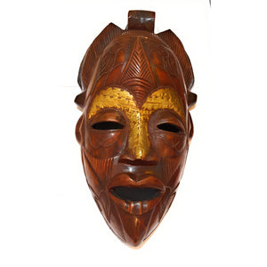 "16"" Large African Wood Mask: Brown - Laura Baby and Company"