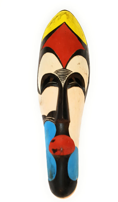 "2 Pieces of 12"" African Cameroon Wood Fang Mask: Multicolored - Laura Baby and Company aaa"