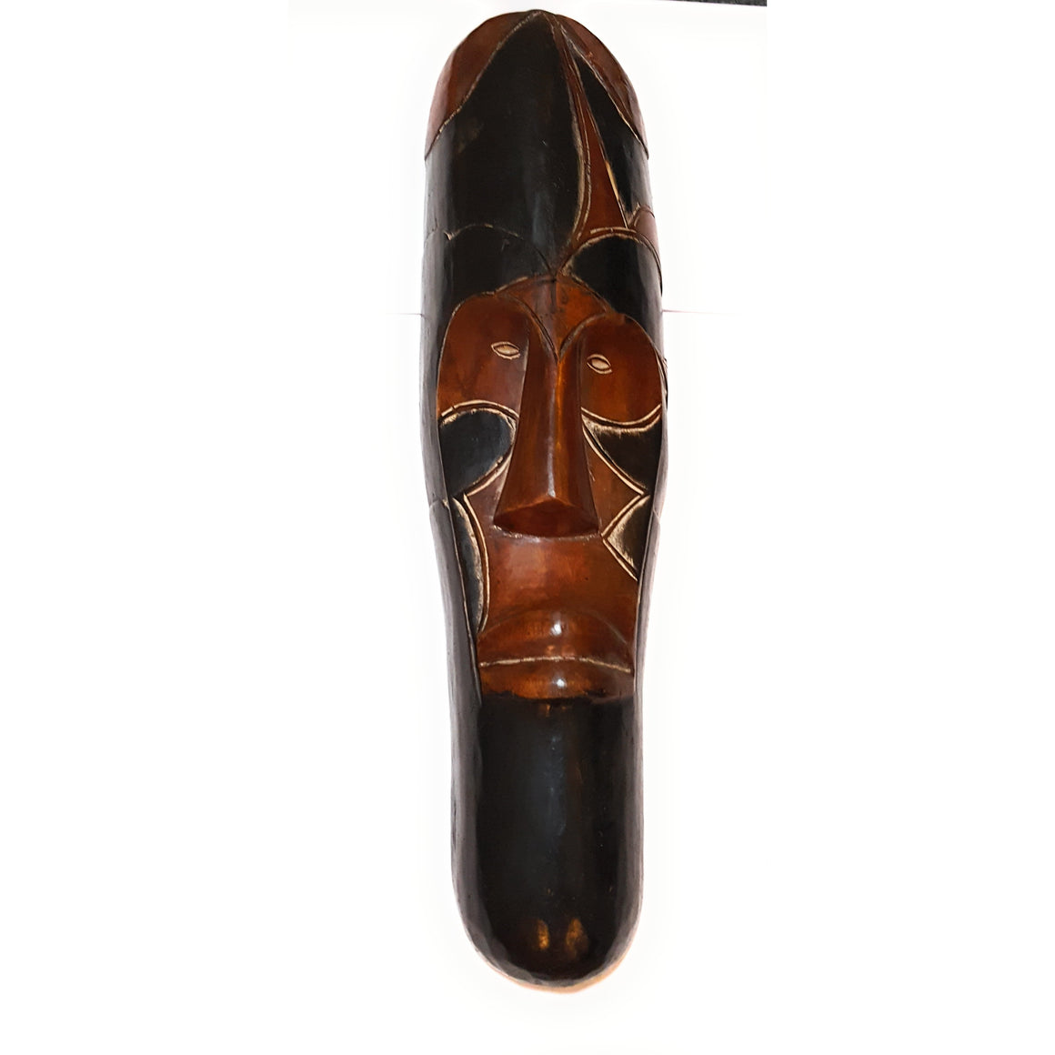 "25"" African Gabon Cameroon Wood Fang Mask: Brown and Black - Laura Baby and Company"