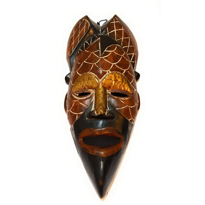 "12"" African Wood Mask: Brown and Black - Laura Baby and Company"