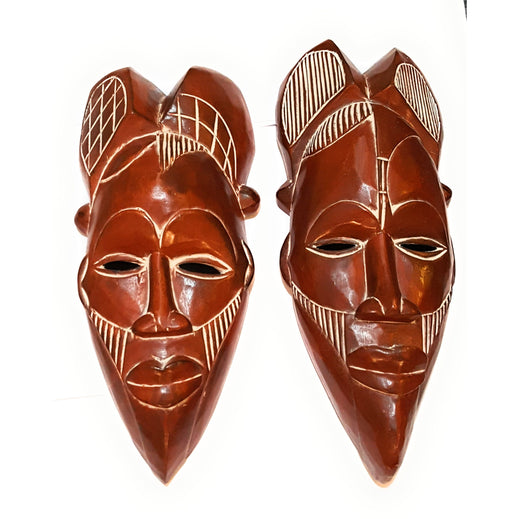 "14"" African Wood Mask in Brown - Laura Baby and Company"