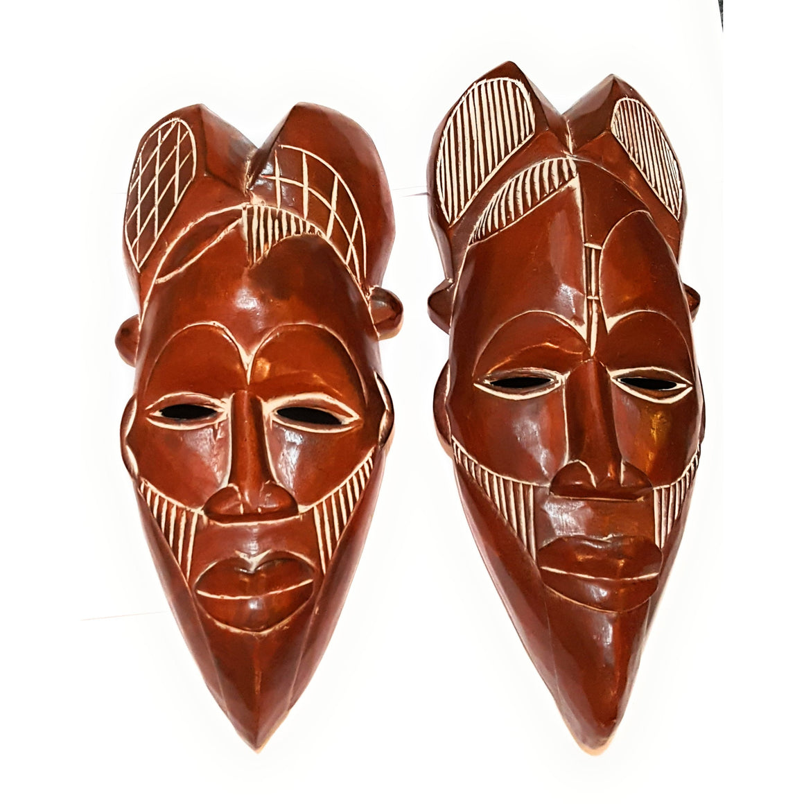 "14"" African Wood Mask: Brown - Laura Baby and Company"